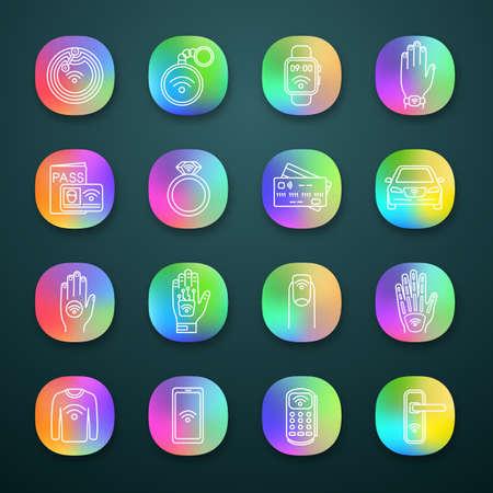 Set di icone dell'app per la tecnologia NFC. Comunicazione in campo vicino. Tag RFID e nfc, adesivo, telefono, gingillo, anello, impianto. Interfaccia utente UI/UX. Web o applicazioni mobili. Illustrazioni vettoriali isolate