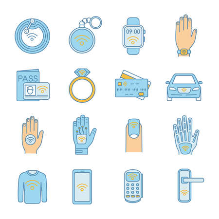 NFC technology color icons set. Near field communication. RFID and nfc tag, sticker, phone, trinket, ring, implant. Contactless technology. Isolated vector illustrations Ilustração