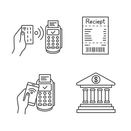 NFC payment linear icons set. POS terminal, cash receipt, pay with smartphone, online banking. Thin line contour symbols. Isolated vector outline illustrations. Editable stroke