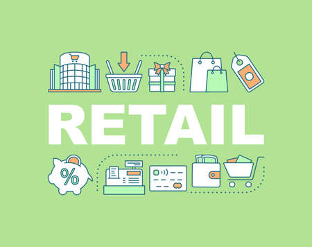 Retail word concepts banner. Merchandise. Making purchases. Shopping. Isolated lettering typography idea with linear icons. Marketing. Commercial industry. Vector outline illustration Vektorové ilustrace