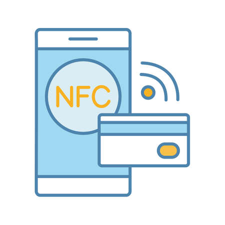 NFC technology color icon. Near field communication. Contactless payment. Cashless smartphone payment. Isolated vector illustration Ilustrace
