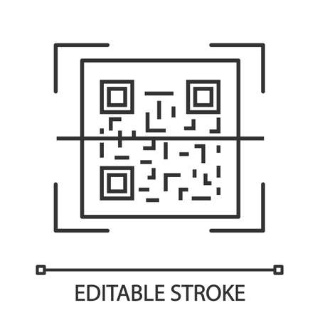 QR code scanner linear icon. Thin line illustration. Quick response code. Matrix barcode scanning app. Contour symbol. Vector isolated outline drawing. Editable stroke 向量圖像