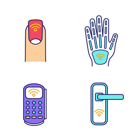 NFC technology color icons set. Near field manicure, hand implant, POS terminal, door lock. Isolated vector illustrations
