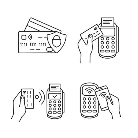NFC payment linear icons set. Credit cards, POS terminal, pay with smartphone. Thin line contour symbols. Isolated vector outline illustrations. Editable stroke Vettoriali