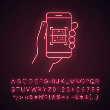 QR code smartphone scanner neon light icon. Quick response code. Matrix barcode scanning mobile phone app. Glowing sign with alphabet, numbers and symbols. Vector isolated illustration