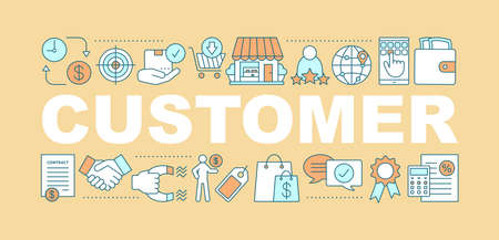 Customer word concepts banner. Product realization. Marketing. Shopping. Isolated lettering typography idea with linear icons. Retail, merchandise. Vector outline illustration