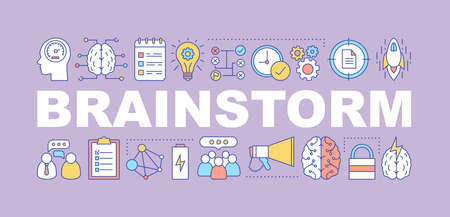 Brainstorm word concepts banner. Thinking process. Strategy development. Isolated lettering typography idea with linear icons. Solution searching. Ideas generation. Vector outline illustration
