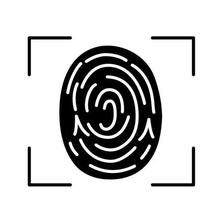 Fingerprint scanning glyph icon. Touch id. Silhouette symbol. Biometric identification.  Fingerprint recognition. Negative space. Vector isolated illustration Vectores