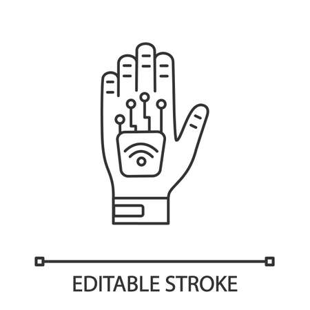 Human microchip implant in hand linear icon. Thin line illustration. NFC implant. Implanted RFID transponder. Contour symbol. Vector isolated outline drawing. Editable stroke Illustration