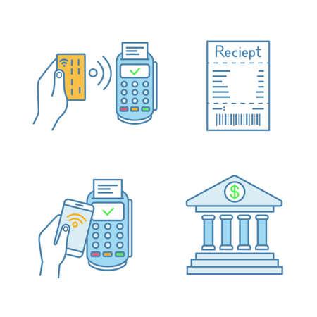 Set di icone di colore di pagamento NFC. Terminale POS, ricevuta di cassa, pagamento con smartphone, online banking. Illustrazioni vettoriali isolati