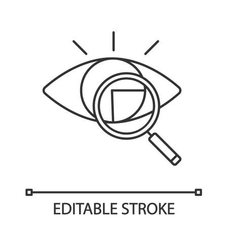Retina scan linear icon. Iris recognition. Thin line illustration. Eye scanning. Biometric identification. Optical recognition. Vision diagnostic. Vector isolated outline drawing. Editable stroke