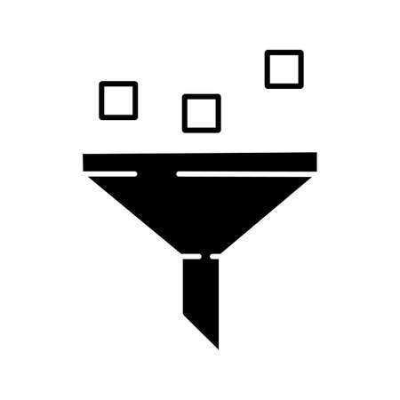 Data filtering system glyph icon. Machine learning process. Data mining. Funnel. Statistics gathering. Silhouette symbol. Negative space. Vector isolated illustration