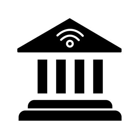 Online banking glyph icon. Account balance. E-payment. Bank building. Silhouette symbol. Negative space. Vector isolated illustration