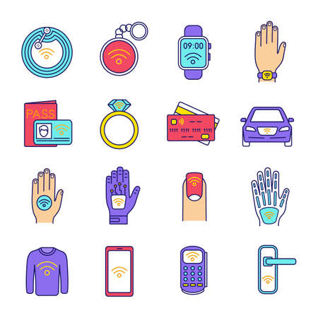 NFC technology color icons set. Near field communication. RFID and nfc tag, sticker, phone, trinket, ring, implant. Contactless technology. Isolated vector illustrations Illustration
