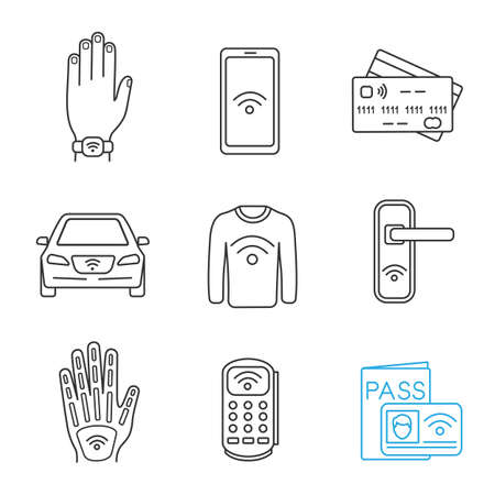 NFC technology linear icons set. Near field bracelet, smartphone, credit card, car, clothes, door lock, hand implant, POS terminal identification system. Isolated vector illustrations. Editable stroke