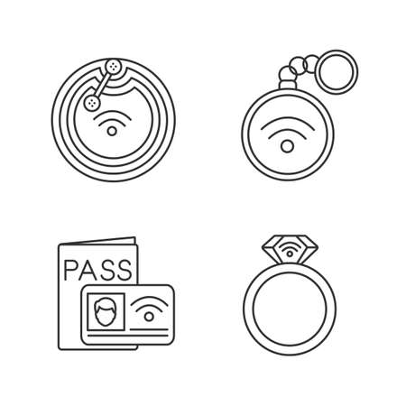 NFC technology linear icons set. Near field chip, trinket, identification system, ring. Thin line contour symbols. Isolated vector outline illustrations. Editable stroke