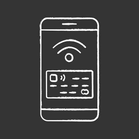 NFC smartphone signal chalk icon. NFC phone. Near field communication. Mobile phone contactless payment. Telephone screen with credit card. Ilustrace