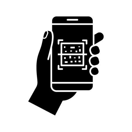 QR code smartphone scanner glyph icon. Silhouette symbol. Quick response code. Matrix barcode scanning mobile phone app. Negative space.