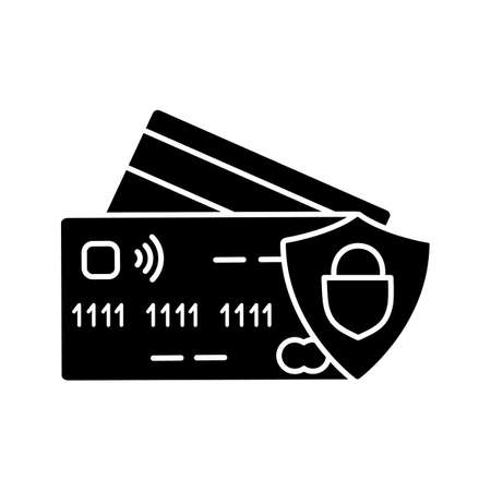 NFC credit card glyph icon. Cashless payment. Silhouette symbol. E-payment. Negative space. Vectores