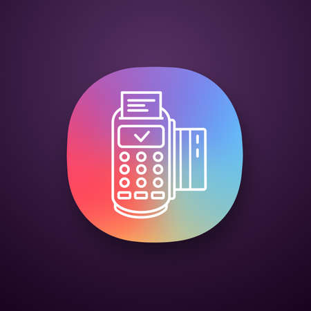 Successful POS terminal transaction app icon. UI/UX user interface. Payment terminal. Web or mobile application. E-payment. Vector isolated illustration 일러스트