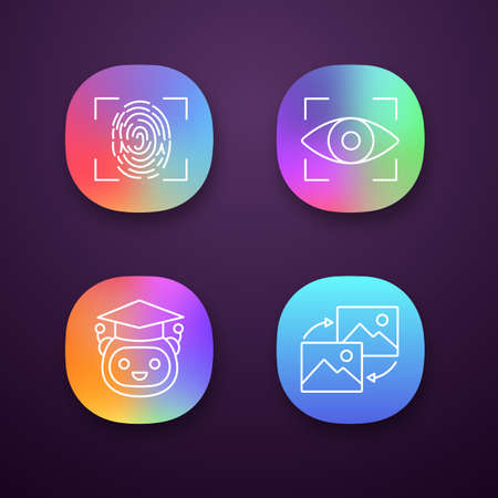 Machine learning app icons set. Fingerprint scanning, iris recognition, teacher bot, data transforming. UIUX user interface. Web or mobile applications. Vector isolated illustrations Ilustração