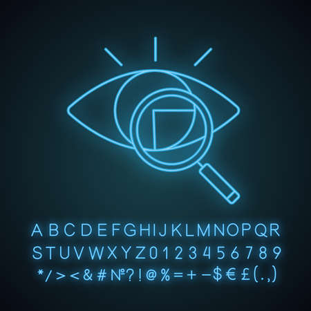 Retina scan neon light icon. Iris recognition. Glowing sign with alphabet, numbers. Eye scanning. Biometric identification. Optical recognition. Vision diagnostic. Vector isolated illustration