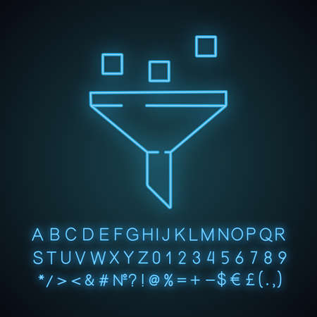 Data filtering system neon light icon. Machine learning process. Data mining. Funnel. Statistics gathering. Glowing sign with alphabet, numbers and symbols. Vector isolated illustration