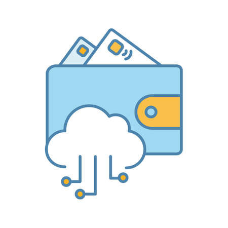 E-wallet color icon. Online money. E-payment. Digital wallet and cashless payments. Cloud computing. Isolated vector illustration