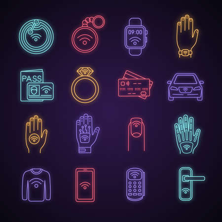NFC technology neon light icons set. Near field communication. RFID and nfc tag, sticker, phone, trinket, ring, implant. Contactless technology. Glowing signs. Vector isolated illustrations