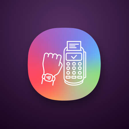 NFC smartwatch app icon. Near field communication payment terminal. UI/UX user interface. Web or mobile application. Smart wristwatch. Contactless payment with NFC. Vector isolated illustration Vectores