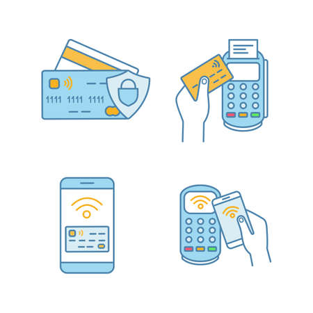 NFC payment color icons set. Credit cards, POS terminal, pay with smartphone. Isolated vector illustrations Vectores