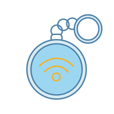 NFC trinket color icon. Near field communication. RFID tag. Contactless technology. Isolated vector illustration