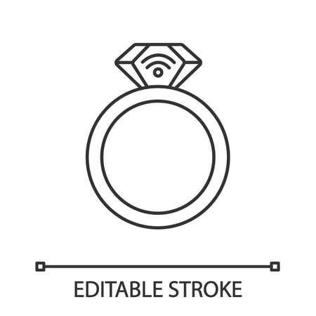 Icono lineal de anillo NFC. Cerca de un campo de comunicación. Transpondedor RFID. Ilustración de línea fina. Anillo inteligente. Tecnología sin contacto. Símbolo de contorno. Dibujo de contorno aislado del vector. Trazo editable Ilustración de vector