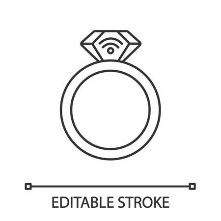 NFC ring linear icon. Near field communication. RFID transponder. Thin line illustration. Smart ring. Contactless technology. Contour symbol. Vector isolated outline drawing. Editable stroke Vettoriali