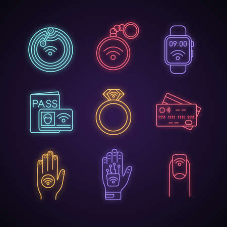 NFC technology neon light icons set. Near field chip, trinket, smartwatch, identification system, ring, credit card, sticker, hand implant, manicure. Glowing signs. Vector isolated illustrations