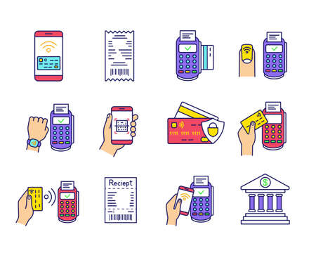 NFC payment color icons set. Electronic money. Cashless and contactless payments. Digital purchase. Online banking. Near Field Communication technology. Isolated vector illustrations