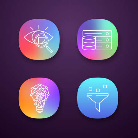 Machine learning app icons set. Retina scan, database, innovation process, data filtering. UI/UX user interface. Web or mobile applications. Vector isolated illustrations