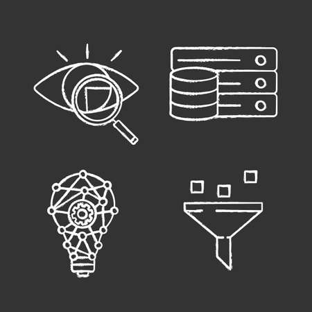 Machine learning chalk icons set. Retina scan, database, innovation process, data filtering. Isolated vector chalkboard illustrations
