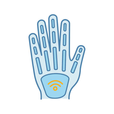 Human microchip implant in hand color icon. NFC implant. Implanted RFID transponder. Isolated vector illustration