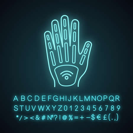 Human microchip implant in hand neon light icon. NFC implant. Implanted RFID transponder. Glowing sign with alphabet, numbers and symbols. Vector isolated illustration Vector Illustration