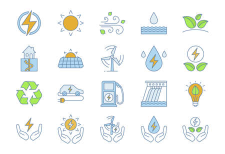 Alternative energy sources color icons set. Eco power. Renewable resources. Water, solar, thermal, wind energy. Isolated vector illustrations