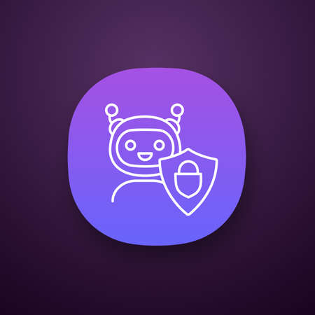 Secured chatbot app icon. Confidential bot dialog. UI/UX user interface. Virtual support service. Chat bot with shield and padlock. Web or mobile application. Vector isolated illustration