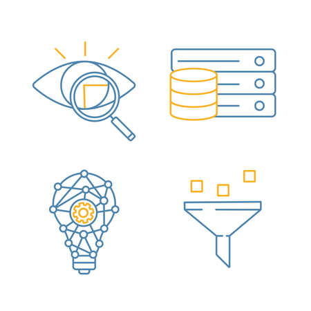 Machine learning color linear icons set. Retina scan, database, innovation process, data filtering. Thin line illustrations. Isolated vector illustrations