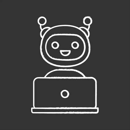 Chatbot chalk icon. Chat bot. Artificial conversational entity. Virtual assistant. Digital support service. Artificial intelligence. Isolated vector chalkboard illustrations