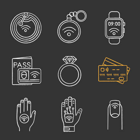 NFC technology chalk icons set. Near field chip, trinket, smartwatch, identification system, ring, credit card, sticker, hand implant, manicure. Isolated vector chalkboard illustrations