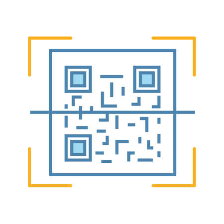 QR code scanner color icon. Quick response code. Matrix barcode scanning app. Isolated vector illustration Illustration