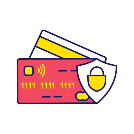 NFC credit card color icon. Cashless payment. E-payment. Isolated vector illustration