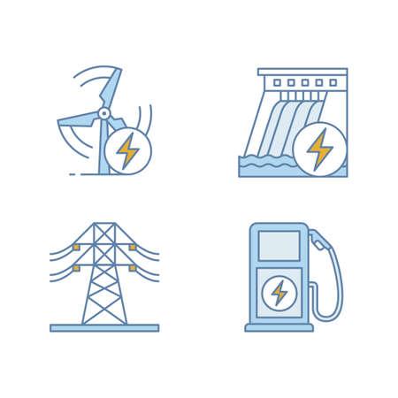 Set di icone di colore di industria di energia elettrica. Linea elettrica ad alta tensione, energia eolica e idrica, stazione di ricarica per veicoli elettrici. Illustrazioni vettoriali isolati