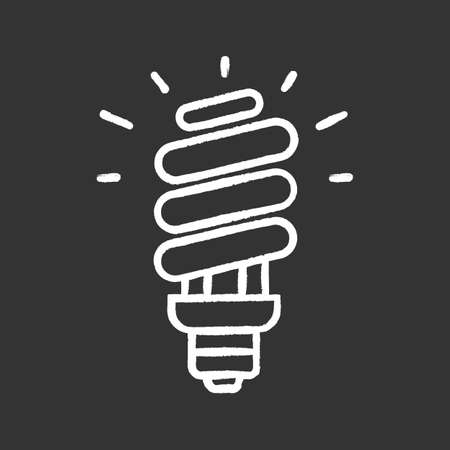 Energy saving light bulb chalk icon. Compact fluorescent lamp. Energy efficiency light. Isolated vector chalkboard illustrations