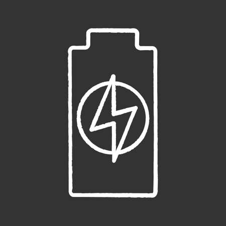Battery charging chalk icon. Battery level indicator. Isolated vector chalkboard illustrations